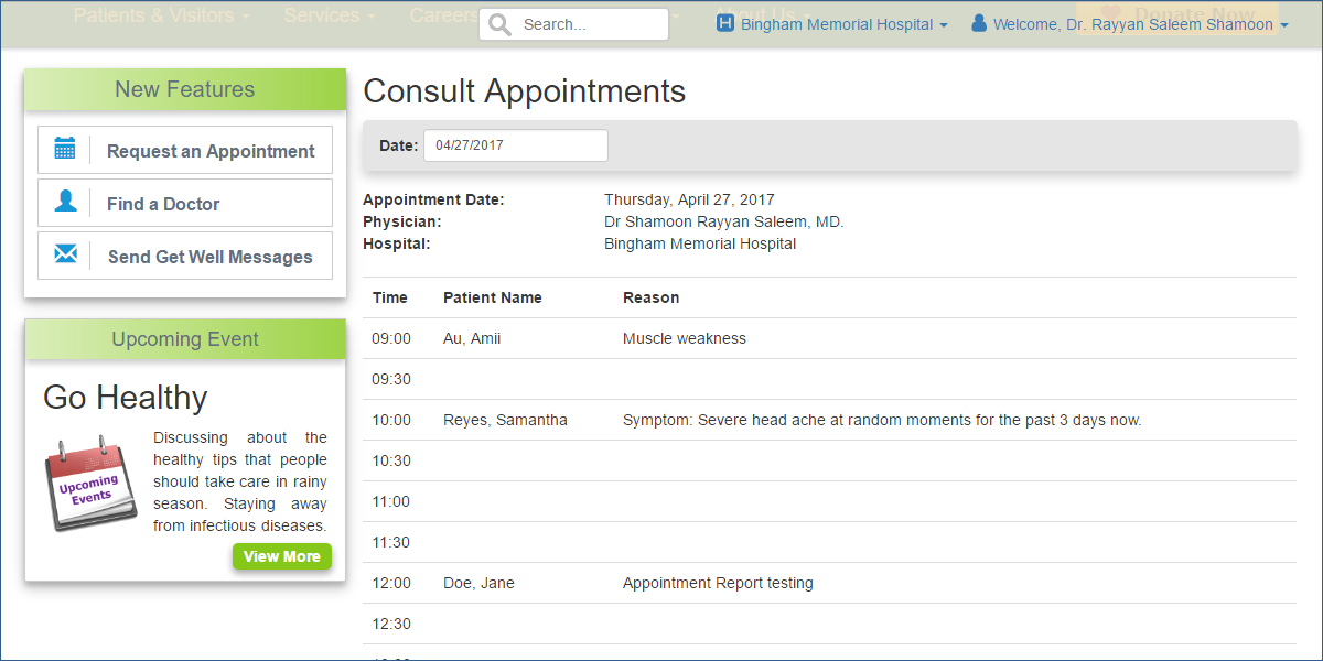 Find a Doctor [Admin] - A physician accessing his/her appointment bookings per date